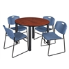"""Kee 48"""" Round Breakroom Table- Cherry/ Black & 4 Zeng Stack Chairs- Blue"""