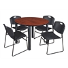 "Kee 48"" Round Breakroom Table- Cherry/ Black & 4 Zeng Stack Chairs- Black"