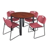 "Kee 48"" Round Breakroom Table- Cherry/ Black & 4 Zeng Stack Chairs- Burgundy"