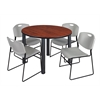 """Kee 48"""" Round Breakroom Table- Cherry/ Black & 4 Zeng Stack Chairs- Grey"""