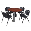 "Kee 48"" Round Breakroom Table- Cherry/ Black & 4 'M' Stack Chairs- Black"