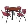 "Kee 48"" Round Breakroom Table- Cherry/ Black & 4 'M' Stack Chairs- Burgundy"