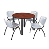 "Kee 48"" Round Breakroom Table- Cherry/ Black & 4 'M' Stack Chairs- Grey"