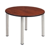 """Kee 48"""" Round Breakroom Table- Cherry/ Chrome"""