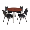 "Kee 48"" Round Breakroom Table- Cherry/ Chrome & 4 Restaurant Stack Chairs- Black"