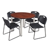 "Kee 48"" Round Breakroom Table- Cherry/ Chrome & 4 Zeng Stack Chairs- Black"