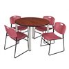 "Kee 48"" Round Breakroom Table- Cherry/ Chrome & 4 Zeng Stack Chairs- Burgundy"