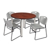 "Kee 48"" Round Breakroom Table- Cherry/ Chrome & 4 Zeng Stack Chairs- Grey"