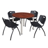 "Kee 48"" Round Breakroom Table- Cherry/ Chrome & 4 'M' Stack Chairs- Black"