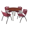 "Kee 48"" Round Breakroom Table- Cherry/ Chrome & 4 'M' Stack Chairs- Burgundy"