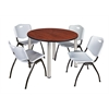 "Kee 48"" Round Breakroom Table- Cherry/ Chrome & 4 'M' Stack Chairs- Grey"