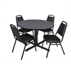 "Cain 48"" Round Breakroom Table- Grey & 4 Restaurant Stack Chairs- Black"