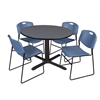 "Cain 48"" Round Breakroom Table- Grey & 4 Zeng Stack Chairs- Blue"
