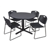 "Cain 48"" Round Breakroom Table- Grey & 4 Zeng Stack Chairs- Black"