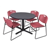 """Cain 48"""" Round Breakroom Table- Grey & 4 Zeng Stack Chairs- Burgundy"""