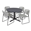 "Cain 48"" Round Breakroom Table- Grey & 4 Zeng Stack Chairs- Grey"