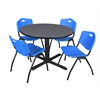 "Cain 48"" Round Breakroom Table- Grey & 4 'M' Stack Chairs- Blue"