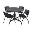 "Cain 48"" Round Breakroom Table- Grey & 4 'M' Stack Chairs- Black"
