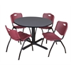 "Cain 48"" Round Breakroom Table- Grey & 4 'M' Stack Chairs- Burgundy"