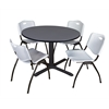 "Cain 48"" Round Breakroom Table- Grey & 4 'M' Stack Chairs- Grey"