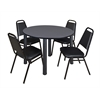 "Kee 48"" Round Breakroom Table- Grey/ Black & 4 Restaurant Stack Chairs- Black"