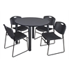 "Kee 48"" Round Breakroom Table- Grey/ Black & 4 Zeng Stack Chairs- Black"