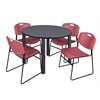 "Kee 48"" Round Breakroom Table- Grey/ Black & 4 Zeng Stack Chairs- Burgundy"