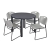 "Kee 48"" Round Breakroom Table- Grey/ Black & 4 Zeng Stack Chairs- Grey"