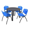 "Kee 48"" Round Breakroom Table- Grey/ Black & 4 'M' Stack Chairs- Blue"