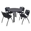 "Kee 48"" Round Breakroom Table- Grey/ Black & 4 'M' Stack Chairs- Black"