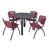 "Kee 48"" Round Breakroom Table- Grey/ Black & 4 'M' Stack Chairs- Burgundy"