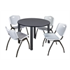 "Kee 48"" Round Breakroom Table- Grey/ Black & 4 'M' Stack Chairs- Grey"