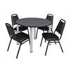 """Kee 48"""" Round Breakroom Table- Grey/ Chrome & 4 Restaurant Stack Chairs- Black"""