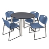"Kee 48"" Round Breakroom Table- Grey/ Chrome & 4 Zeng Stack Chairs- Blue"