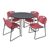 "Kee 48"" Round Breakroom Table- Grey/ Chrome & 4 Zeng Stack Chairs- Burgundy"