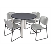 """Kee 48"""" Round Breakroom Table- Grey/ Chrome & 4 Zeng Stack Chairs- Grey"""