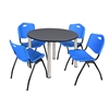 "Kee 48"" Round Breakroom Table- Grey/ Chrome & 4 'M' Stack Chairs- Blue"
