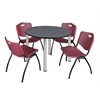 """Kee 48"""" Round Breakroom Table- Grey/ Chrome & 4 'M' Stack Chairs- Burgundy"""