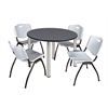 "Kee 48"" Round Breakroom Table- Grey/ Chrome & 4 'M' Stack Chairs- Grey"