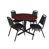 "Cain 48"" Round Breakroom Table- Mahogany & 4 Restaurant Stack Chairs- Black"