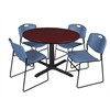 "Cain 48"" Round Breakroom Table- Mahogany & 4 Zeng Stack Chairs- Blue"