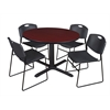 "Cain 48"" Round Breakroom Table- Mahogany & 4 Zeng Stack Chairs- Black"