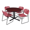 "Cain 48"" Round Breakroom Table- Mahogany & 4 Zeng Stack Chairs- Burgundy"