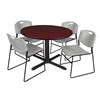"Cain 48"" Round Breakroom Table- Mahogany & 4 Zeng Stack Chairs- Grey"
