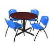 "Cain 48"" Round Breakroom Table- Mahogany & 4 'M' Stack Chairs- Blue"