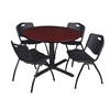"Cain 48"" Round Breakroom Table- Mahogany & 4 'M' Stack Chairs- Black"