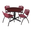 "Cain 48"" Round Breakroom Table- Mahogany & 4 'M' Stack Chairs- Burgundy"