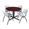 "Cain 48"" Round Breakroom Table- Mahogany & 4 'M' Stack Chairs- Grey"