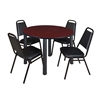 "Kee 48"" Round Breakroom Table- Mahogany/ Black & 4 Restaurant Stack Chairs- Black"