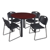 "Kee 48"" Round Breakroom Table- Mahogany/ Black & 4 Zeng Stack Chairs- Black"
